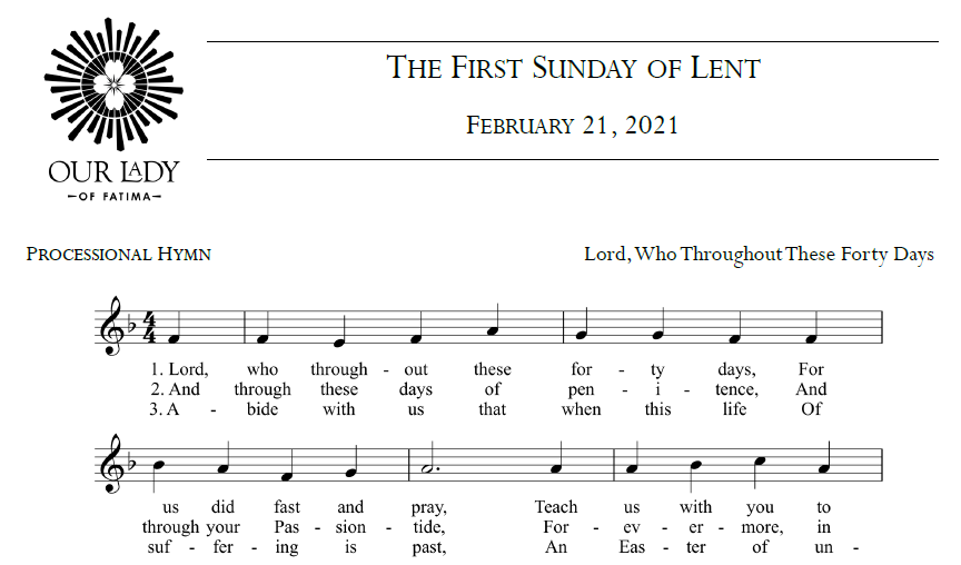 Worship Aid for February 21, 2021 - The First Sunday of Lent